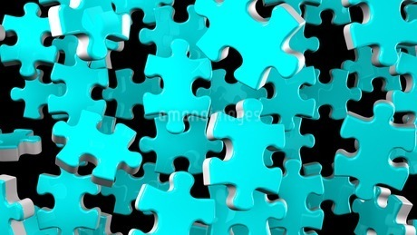Pale Blue Jigsaw Puzzle On Black Backgroundのイラスト素材 [FYI03595750]