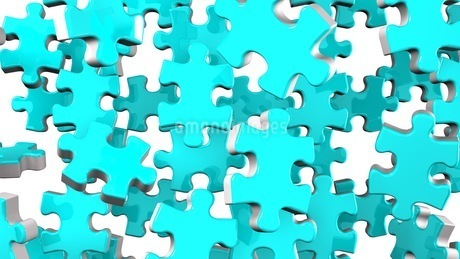 Pale Blue Jigsaw Puzzle On White Backgroundのイラスト素材 [FYI03595792]