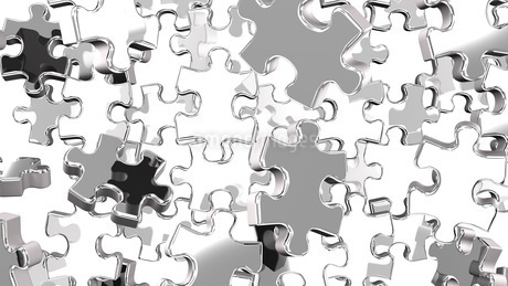 Silver Jigsaw Puzzle On White Backgroundのイラスト素材 [FYI03595836]