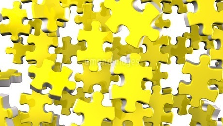 Yellow Jigsaw Puzzle On White Backgroundのイラスト素材 [FYI03596042]