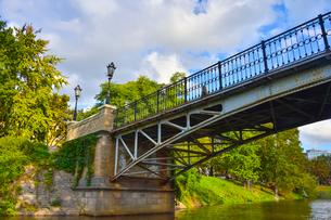 ラトビア・首都リガのダウガヴァ川を巡る観光船から見た川沿いにある緑の木々と橋のある景観の写真素材 [FYI03598578]