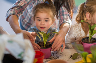 Mid adult woman helping young children with gardening activityの写真素材 [FYI03599976]