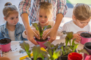 Mid adult woman helping young children with gardening activityの写真素材 [FYI03599978]