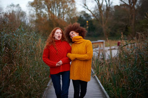 Two young women, walking arm in arm along rural pathwayの写真素材 [FYI03600938]