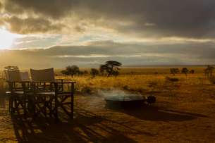 Camp fire and chairs, Tarangire National Park, Tanzania, Africaの写真素材 [FYI03601857]