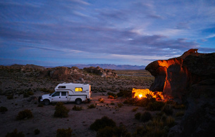Recreational vehicle, travelling at dusk, Oruro, Oruro, Bolivia, South Americaの写真素材 [FYI03603776]