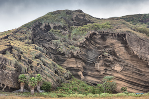 Textured rock formation, Fogo, Cape Verde, Africaの写真素材 [FYI03604014]