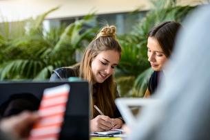Female designers making notes at design studio desk, over shoulder viewの写真素材 [FYI03604498]