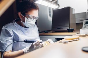 Dentist making denture in laboratoryの写真素材 [FYI03604835]