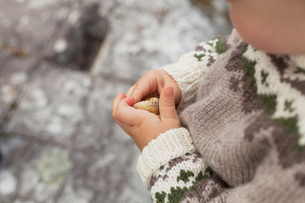 Child holding seashell, cropped close upの写真素材 [FYI03604877]