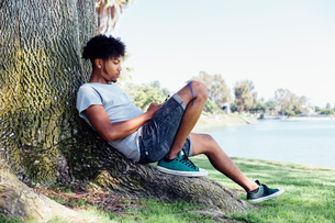 Man sitting on root of treeの写真素材 [FYI03605351]