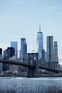 Cityscape with Brooklyn Bridge and Lower Manhattan skyline, New York, USAの写真素材 [FYI03605487]