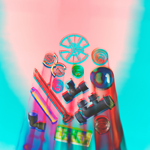 Moulded plastic parts with solarised photographic effectの写真素材 [FYI03605702]