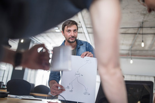 Young man discussing diagram with colleagues during office coffee breakの写真素材 [FYI03605723]