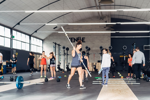Group of people training in gymの写真素材 [FYI03606403]