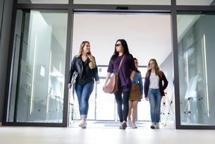 Students entering college building by glass doorsの写真素材 [FYI03606956]