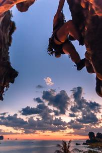 Rock climbing on limestone rock at sunset, Tonsai, Krabi, Thailandの写真素材 [FYI03606992]