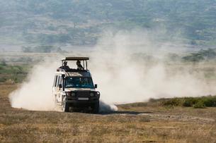 A safari vehicle driving in the Ndutu area, Ndutu, Ngorongoro Conservation Area, Serengeti, Tanzaniaの写真素材 [FYI03608014]