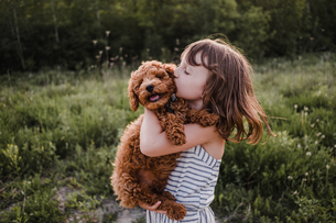 Puppy turning away from girl's kissesの写真素材 [FYI03608568]