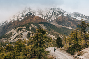 Hiker on trail, Annapurna Circuit, the Himalayas, Manang, Nepalの写真素材 [FYI03608631]