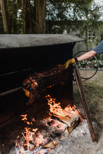 Man rotating hog roast spit in garden, croppedの写真素材 [FYI03609000]
