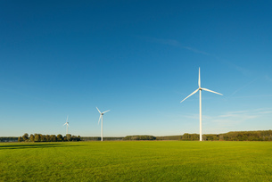 Row of wind turbines on nature reserve, Netherlandsの写真素材 [FYI03612177]