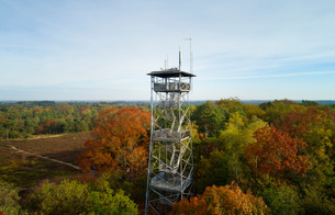 Watchtower in autumn woods, now primarily used for mobile communication antennas, elevated view, Netの写真素材 [FYI03612189]