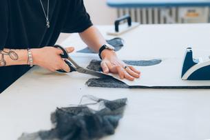Fashion designer cutting fabric from dressmaker's patternの写真素材 [FYI03612929]