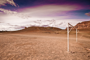 Football pitch, Tamnougalt village, near Agdz, Moroccoの写真素材 [FYI03613796]