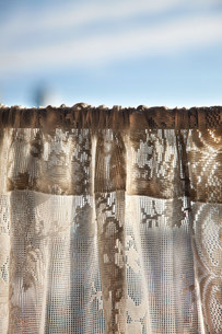 Net curtain in cafeの写真素材 [FYI03614044]