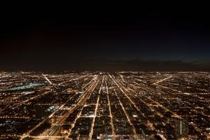 Night cityscape, Chicago, Illinois, USAの写真素材 [FYI03614231]