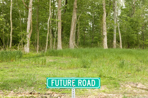 Road sign saying future road in forestの写真素材 [FYI03614486]