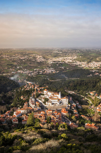 Landscape with distant views, high angle view, Sintra, Lisbon, Portugalの写真素材 [FYI03615734]