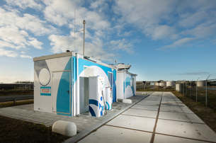 Public transport hydrogen fuel station, Delfzijl, Netherlands. Hydrogen is readily available due toの写真素材 [FYI03615809]