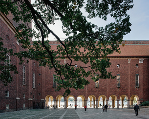 Stockholm Town Hall courtyard, Stockholm, Swedenの写真素材 [FYI03616263]