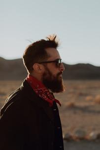 Portrait of bearded man, Trona Pinnacles, California, USの写真素材 [FYI03616875]