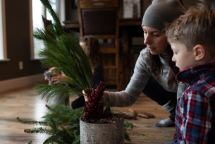 Mother and children creating potted leaf arrangementの写真素材 [FYI03617512]