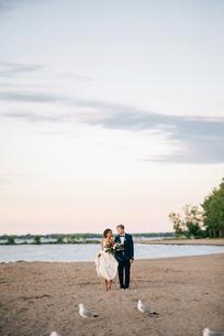 Romantic bride and groom barefoot on lakeside, Lake Ontario, Toronto, Canadaの写真素材 [FYI03617753]