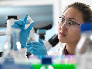 Scientist preparing new vaccine drug in laboratory for a patientの写真素材 [FYI03618100]
