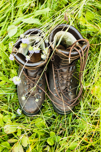 Pair of boots on grassの写真素材 [FYI03618229]