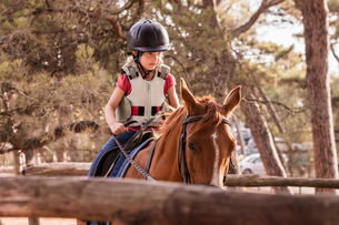 Girl learning to ride horse in paddockの写真素材 [FYI03618284]