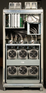 View inside cabinet that regulates flow of electricity to serversの写真素材 [FYI03618447]