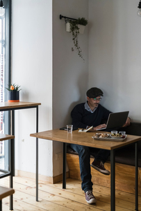 Businessman using laptop over lunch of grilled chicken and vegetables in restaurantの写真素材 [FYI03619193]