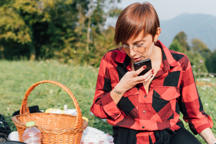 Woman making call at picnic, Rezzago, Lombardy, Italyの写真素材 [FYI03619899]