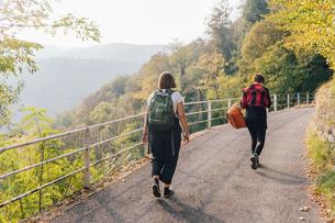 Friends on hillside road, Rezzago, Lombardy, Italyの写真素材 [FYI03619912]