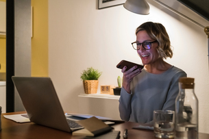 Woman working at laptop and talking on cellphone in home officeの写真素材 [FYI03620022]