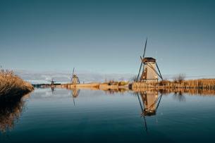 Windmills along canal, Kinderdijk, Zuid-Holland, Netherlandsの写真素材 [FYI03620037]