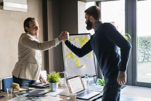 Businessmen holding hands in agreement in officeの写真素材 [FYI03620290]