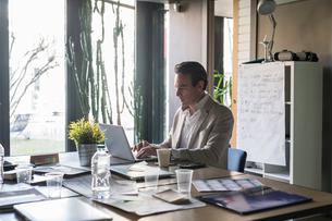 Businessmen using laptop in officeの写真素材 [FYI03620297]