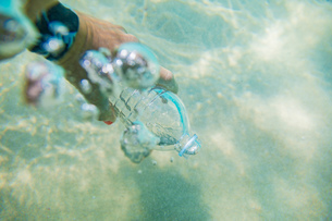 Woman filling plastic bottle with sea waterの写真素材 [FYI03620955]